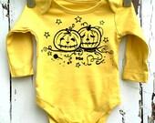 Newborn Mustard Yellow Babygro vest Halloween Pumpkins Candy romper by Love Rocky