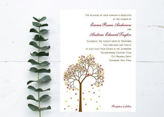 Fall Wedding Invitation - Autumn Wedding Invitation - Fall Tree Invitation - Burnt Orange Wedding - September, October, November Invitation
