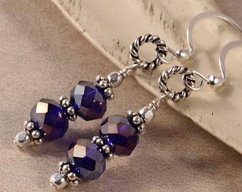 Purple Sparkle Crystal Earrings, Dangle Drop Earrings, Sterling Silver EROY