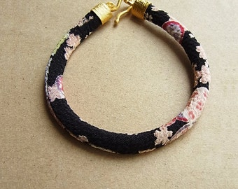 Pastel Cream Sakura on Black Japanese Kimono Cord Bracelet // Turkish Matte Gold End Caps