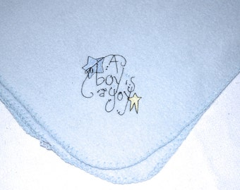 A Boy Is A Joy Blanket Lightweight Embroidery Fleece Baby Blanket or for a Pet - Ready to Ship