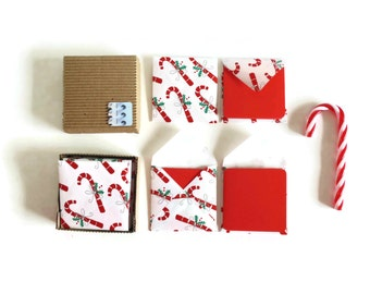 Christmas Mini Stationery Set: Candy Canes Tiny Square Envelopes and Red Note Cards