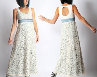 Long lace dress, Cream crochet lace sleeveless dress with empire waist and blue lace details, size FR 38 / UK  10
