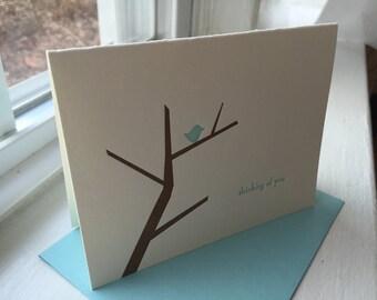 Thinking of You Bird Tree Letterpress Greeting Card