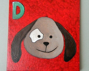 D is for  DOG Original Acrylic Painting, Dog original painting, children room decorative painting, alphabet animal art painting