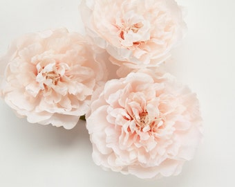 TWO Blush Pink Peonies -  4 Inches - Silk flower - Artificial Flower - ITEM 081