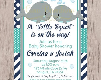 PRINTABLE Whale Baby Shower Invitation /  Navy Blue, Gray and Turquoise Invitation with Gray Whales / You Print - 0025