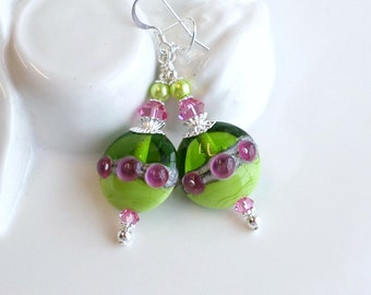 Pink Green Lampwork Earrings, Silver Earrings, Lampwork Glass Bead Earrings, Pink Glass Earrings Green Earrings, Lampwork Crystal Earrings