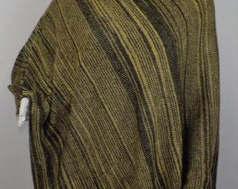 Handmade Knit Poncho - Black and Gold Random Stripes