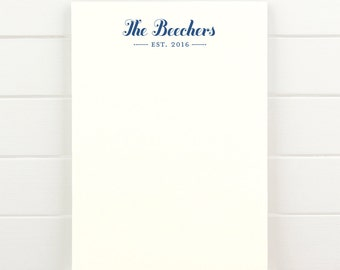 ESTABLISHED Personalized Notepad - Custom Letterhead Couples Wedding
