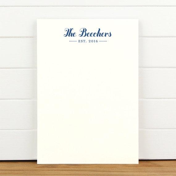 ESTABLISHED Personalized Notepad - Custom Letterhead Couples Wedding