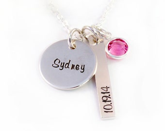 New Mom Necklace, Gift for New Mom, New Mommy Jewelry, New Mommy, Handstamped Sterling Silver