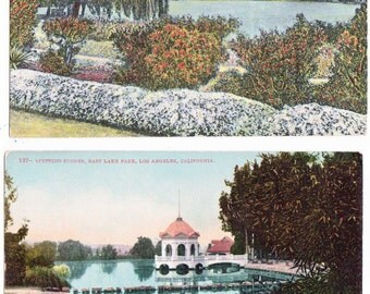 2 Vintage Postcards of East Lake Park, now Lincoln Park, Los Angeles CA circa 1913