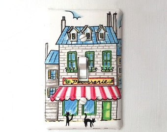 Fabric Light Switch Plate Cover, wall decor - French Cafe with Cats