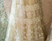 Reserved for cimone deposit for custom Lace Wedding Dress boho nude  floral  by vintage opulence on Etsy