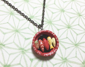 Assorted Sushi Box Necklace, Sushi Necklace, Japanese Food Necklace, Cute Gift for Sushi Lover, Food Necklace, Birthday Treat, Birthday Gift