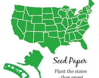 100 Plantable Paper States - Your Choice State - Seed Paper Texas California Florida New York Michigan Montana Oregon Washington - and more