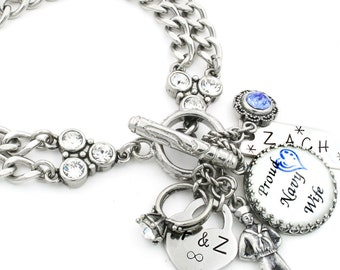 Military Wife Charm Bracelet, Military Jewelry, Personalized Military Wife Bracelet, Army, Navy, Marines, Air Force, Coast Guard