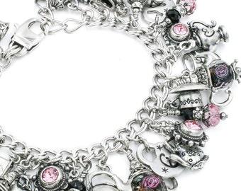 English Tea - Tea Jewelry - Tea Time - Tea Lover - Tea Pot Jewelry - Tea Cup - Tea Charm Bracelet