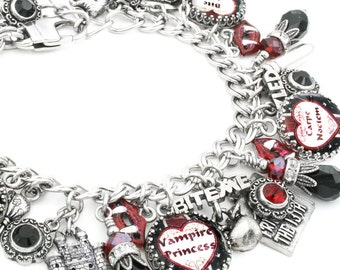 Vampire Bracelet, Vampire Jewelry, Halloween Charm Bracelet, Halloween Jewelry, Vampire Bracelet