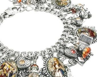 Bracelet Jewellery, Silver Bracelet, Queen of Hearts, Mad Hatter, White Rabbit
