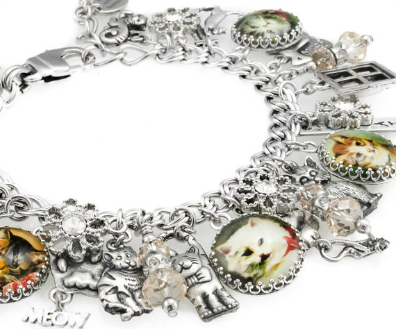 Cat Charm Bracelet, Cats Jewelry, Cat Bracelet, Kitten Charm Bracelet, Stainless Steel Charm Bracelet
