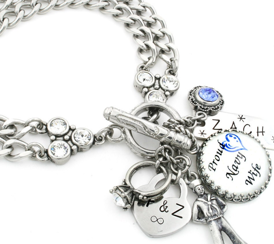 Personalized Bracelet Charms: Military Wife Charm Bracelet Military Jewelry Personalized