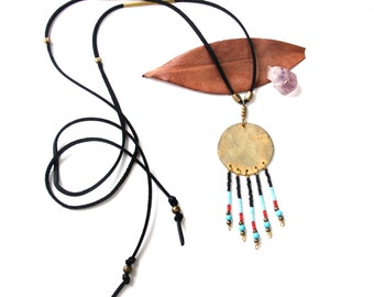 SALE Brass Circle Beaded Fringe Necklace on Black Leather Cord (P1926)