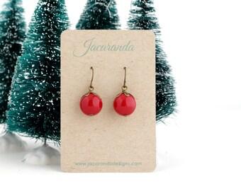 Beaded Red Earrings - Dangle Earrings - Bright Red - Autumn Jewelry - Brass Earrings - Vibrant Red Earrings - Gift For Her