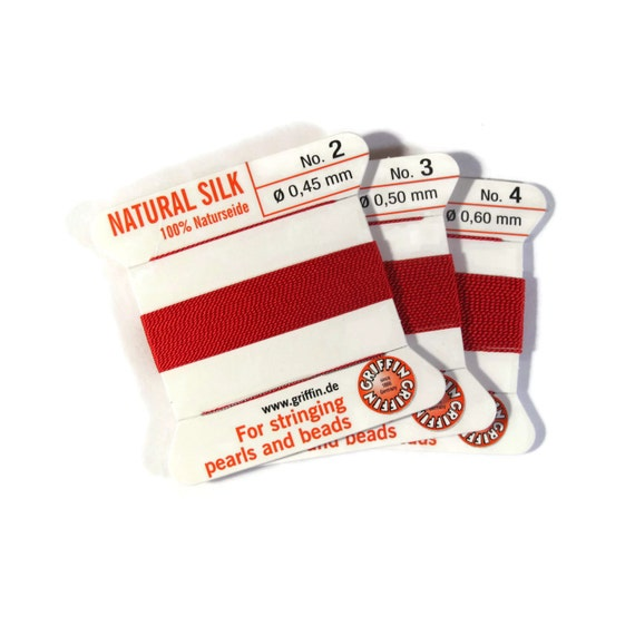 Size 2, 3 or 4 : Primary Red Cord, 100% Silk Cord with Built-In Stainless Steel Needle for Jewelry & Hand Knotting, 2 Yard Spool