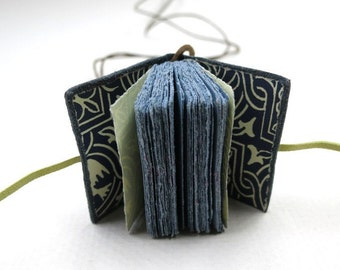Book pendant, leather journal, book necklace, mini diary, jewelry