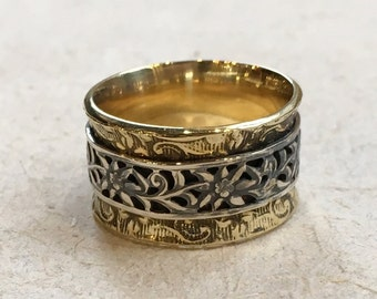 Unisex spinner ring, Boho jewelry, silver brass Spinner Ring,  Filigree Ring, Wide Band, simple Silver Ring, botanical - A way to you R2368