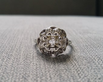Antique White Gold Diamond Solitaire Engagement Ring Illusion Setting Flower Milgrain Filigree Vintage Art Deco White 14K Gold Size 7.25