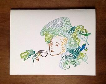 daydream tea love card hand printed happy vintage gocco screenprint feathers birds coffee