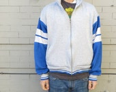 COOL KID at RECESS jacket // men's small spring sweater // boy's xl // blue and white stripe // grey // super soft