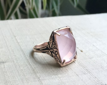 Faceted Rose Quartz and Pink-Silver Dragonfly Ring