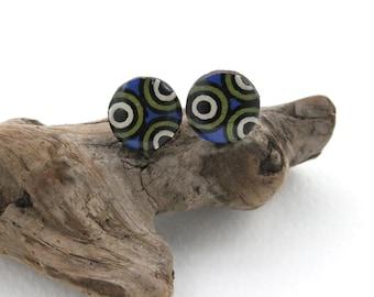 Polka Dot Wood Stud Earrings, Blue Green & White Studs, Unisex, Mens Earrings, Hypoallergenic Nickel Free Stud Earrings for Sensitive Ears