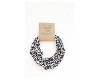 Infinity Scarf - Jersey - Black and White - Floral - Knit Fabric - Stretch - Scarf