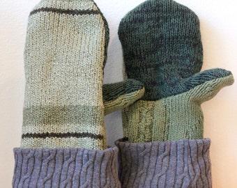 Sweater Mittens, Wool Mittens, Mittens, Lined Mittens, Fleece Lined, Mittens, Green, Gray, Fleece-Lined, Warm, Cozy, Winter Mittens