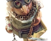 Steampunk | FREE SHIPPING |  OOAK | Figurine | art doll | polymer clay | Stitched clothing | Goggles | Watch | steam punk