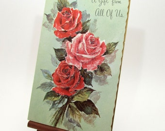 Vintage Greeting Card - Roses - Glass Glitter - flowers - group gift - Note card