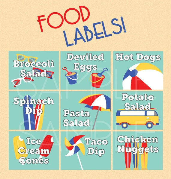 Beach Ball Birthday Party Pool Party Food Labels Summer