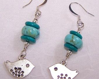 Little Bird Turquoise Beaded Dangle Drop Earrings