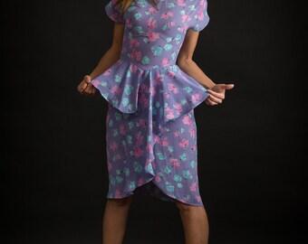 Vintage Lavender Floral Peplum Waist Dress (Size Small)