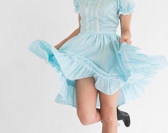 SALE-20% OFF-Vintage Sky Blue Full Skirt Dress (Size Small/Medium)