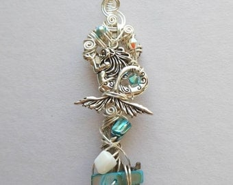 Silver Mermaid Key Pendant -- Silver Wire Wrapped Antique Key, Swarovski Crystals, Shell and Mother of Pearl Beads, Turquoise, White