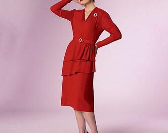 Butterick 6266 40's  dress, Swing Dress, Big Band Dress, Diesel Punk-  Plus Size