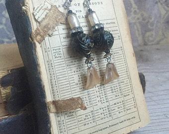 Vintage Earrings, Boho Bride Asian Carved Beads Distressed Faux Pearls Dangles Rhinestones