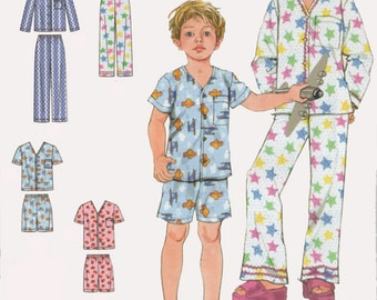 OOP Easy to Sew Girls/Boys Pajamas in two lengths Simplicity 2738 Size 3-12 UNCUT