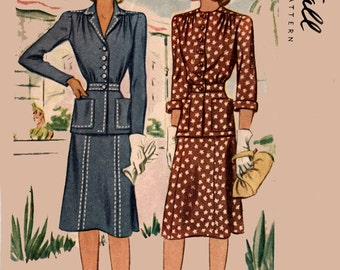 Vintage 40s McCall 4564 CLASSY Two Piece Fitted Dress Vintage Sewing Pattern Size 18 Bust 36